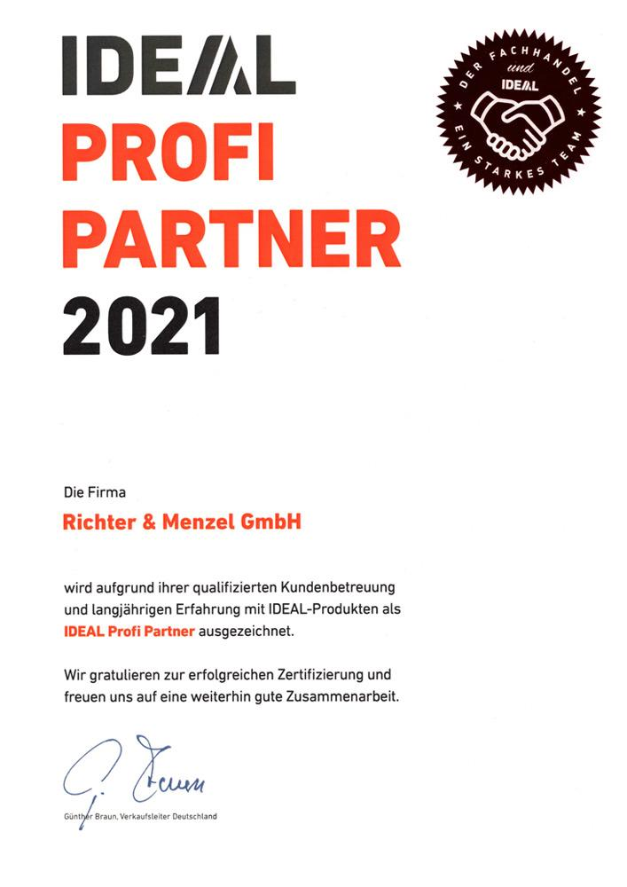 Zertifikat Profipartner