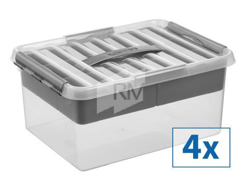 4x Sunware Q-Line Aufbewahrungsbox mit Einsatz,15l